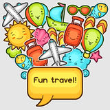 Cute travel background with kawaii doodles. Summer collection of cheerful cartoon characters sun, airplane, ship Stock Images