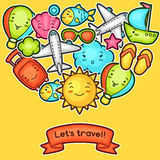 Cute travel background with kawaii doodles. Summer collection of cheerful cartoon characters sun, airplane, ship Stock Image
