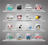 Cute travel icons collection,Transparent glass but Royalty Free Stock Images