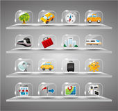 Cute travel icons collection,Transparent glass but Stock Photography