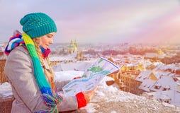 Cute traveler girl Stock Images