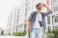 Cute traveler sightseeing in town Royalty Free Stock Photography