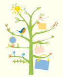 Cute tree card with text frames for kids Royalty Free Stock Photos