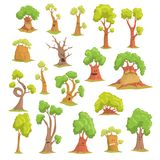 Cute tree characters set, funny humanized trees with different emotions colorful hand drawn vector Illustrations Royalty Free Stock Photography