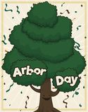 Cute Tree Covered with Confetti Celebrating Arbor Day, Vector Illustration. Happy, smiling young tree celebrating Arbor Day under a confetti and streamers shower royalty free illustration