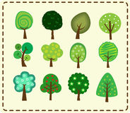 Cute tree icon set Royalty Free Stock Images