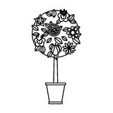 Cute tree in pot icon Royalty Free Stock Photography