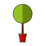 Cute tree in pot icon Stock Image