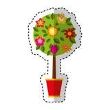 Cute tree in pot icon Stock Photo