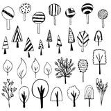 Cute of tree sketch on white background Royalty Free Stock Images