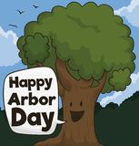Cute Tree Wishing at You a Happy Arbor Day, Vector Illustration. Cute smiling tree in a forest view, with flying bird wishing at you a happy Arbor Day vector illustration