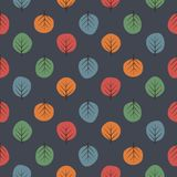 Cute trees seamless pattern. Dark nature background with bright leaves. Autumn forest vector illustration. Design for textile, wallpaper, fabric Royalty Free Stock Photo
