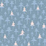 Cute Trendy Abstract Christmas trees, stars vector seamless pattern background. Winter Holiday Scandinavian. Cute trendy abstract Christmas pastel pink and blue vector illustration