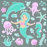 Cute trendy set of stickers emoji, patches badges Little Mermaid and the underwater world. Fairytale princess mermaid
