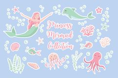 Cute trendy set of stickers emoji, patches badges. mermaid princess and dolphin, octopus, fish, jellyfish, coral royalty free illustration
