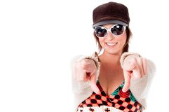 Cute Trendy woman pointing at camera Royalty Free Stock Photo