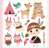 Cute tribal animals and little girl. Set of cute tribal animals and a little girl in cartoon style Stock Photography