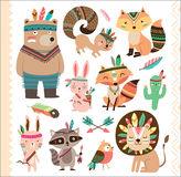 Cute tribal animals Stock Images