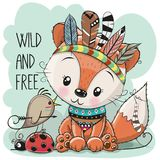 Cute tribal Fox and bird with feathers royalty free illustration