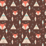 Cute tribal geometric seamless pattern in cartoon style Royalty Free Stock Images