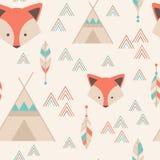 Cute tribal geometric seamless pattern in cartoon style Royalty Free Stock Photos