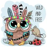 Cute tribal Owl and bird with feathers. Cute Cartoon tribal Owl and bird with feathers vector illustration