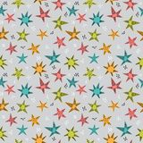Cute tribal seamless pattern with hand drawn stars for kids. Texture for fabric or wrapping paper. Trendy background in scandinavi. An style. Vector illustration royalty free illustration
