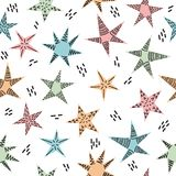 Cute tribal seamless pattern with hand drawn stars for kids. Trendy background in scandinavian style. Texture for fabric or wrappi. Ng paper. Vector illustration Stock Images