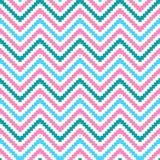 Cute tribal zig zag seamless pattern. Vector. Illustration for beauty fashion design. Chevron stripes with  stepped edges. Blue, pink and white colors Stock Image