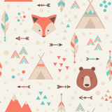 Cute trible geometric seamless pattern in cartoon style Royalty Free Stock Photography