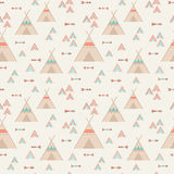 Cute trible geometric seamless pattern in cartoon style Royalty Free Stock Images
