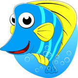 Cute Tripical Butterfly Fish. Illustration Of Cute Butterfly Fish On Blue Water Royalty Free Stock Photo