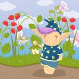 Cute troll character in blue pajamas standing and holding oil lantern on the backround of field of strawberry vector. Cute troll character in blue pajamas Royalty Free Stock Photo