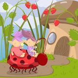 Cute troll characters riding on ladybug to mushroom house, vector illustration in cartoon style Royalty Free Stock Image