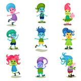Cute troll characters set, funny creatures with different colors of skin and hair vector Illustrations on a white. Cute troll characters set, funny creatures Royalty Free Stock Photo