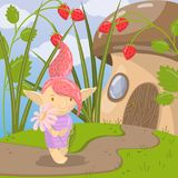 Cute troll girl character with camomile flower standing on the background of fairytale mushroom house vector. Cute troll girl character with camomile flower Royalty Free Stock Photo