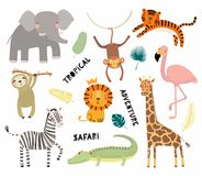 Cute tropical animals set. Set of cute funny animals flamingo, sloth, crocodile, elephant, giraffe, lion, tiger, monkey, zebra. Isolated objects on white. Vector Royalty Free Stock Photo