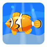 Cute Tropical fish clown in sea, ocean, cartoon style, vector illustration, isolated. Cute Tropical fish clown in sea, ocean, cartoon style, vector illustration Royalty Free Stock Photography