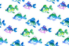 Cute tropical fish seamless pattern. Watercolor hand drawn illustration Royalty Free Stock Photos