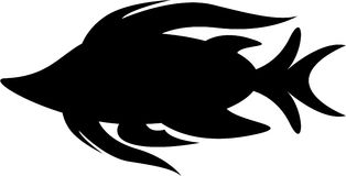 Cute Tropical Fish Silhouette. Vector Illustration of Cute Cartoon Tropical Fish in Black and White Silhouetted Outline.nnEPS file is also available Stock Photography