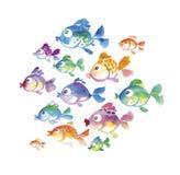 Cute tropical fish watercolor hand Stock Image