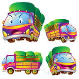 Cute truck cartoon many actions. Cute truck cartoon running have action and emotions Stock Photos
