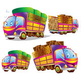 Cute truck cartoon many actions. Cute truck cartoon running have action and emotions Royalty Free Stock Images