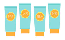 Cute tubes of sunscreen with different SPFsun protection factor Stock Image