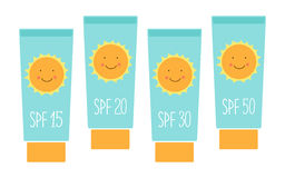 Cute tubes of sunscreen with different SPFsun protection factor Royalty Free Stock Photo