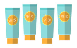 Cute tubes of sunscreen with different SPFsun protection factor Stock Images