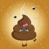 Cute turd with a bow and flies. Stock Photo