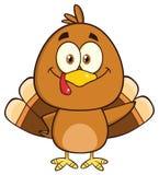Cute Turkey Bird Character Waving. Illustration Isolated On White Stock Photo