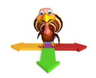 Cute Turkey cartoon character with arrow sign. 3d rendered illustration of Turkey cartoon character with arrow sign Stock Photos