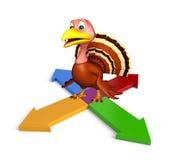 Cute Turkey cartoon character with arrow sign. 3d rendered illustration of Turkey cartoon character with arrow sign Royalty Free Stock Photos